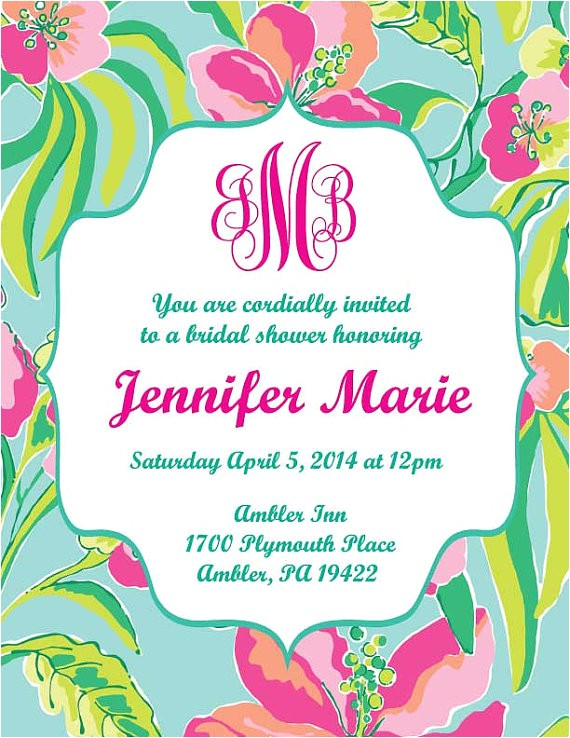lilly pulitzer inspired invitation printable customizable 2