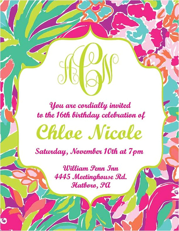 lilly pulitzer inspired invitation printable digital