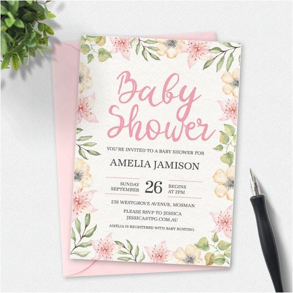baby shower invitation floral invitation