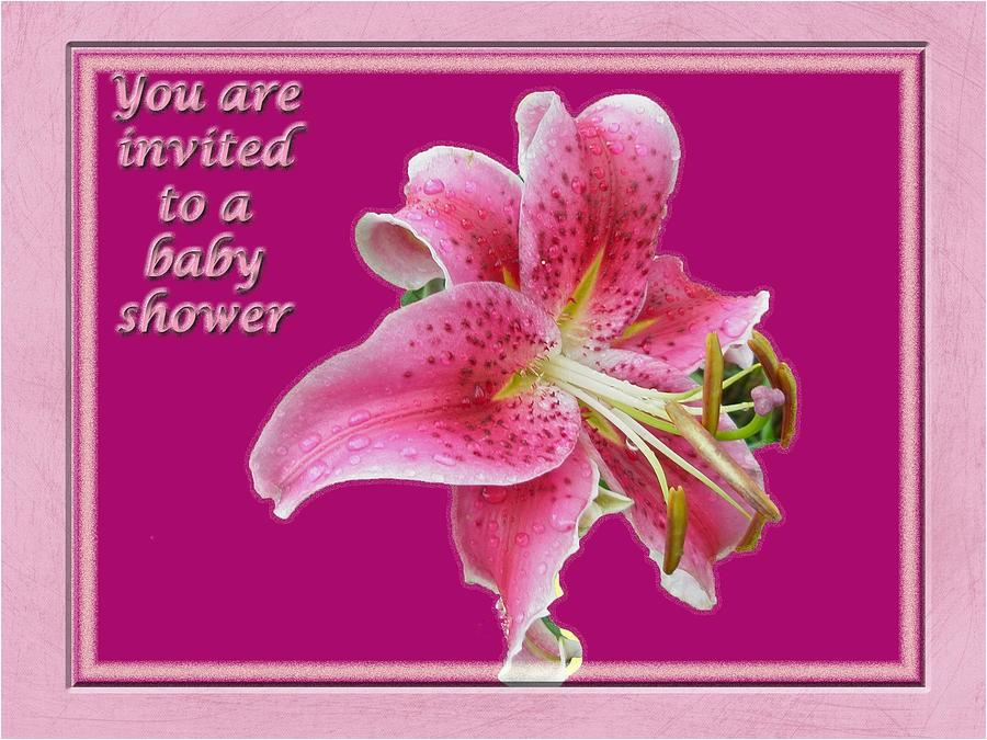 baby shower invitation pink stargazer lily carol senske