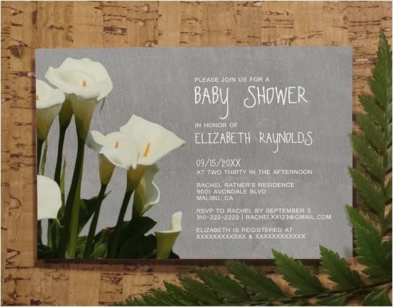 calla lily baby invitations girl baby