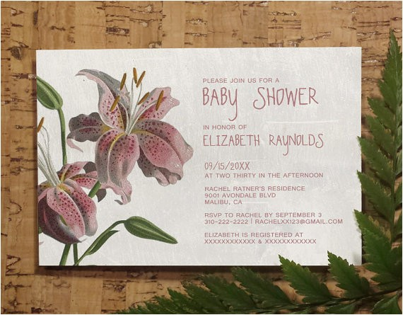 oriental lily baby invitations girl baby