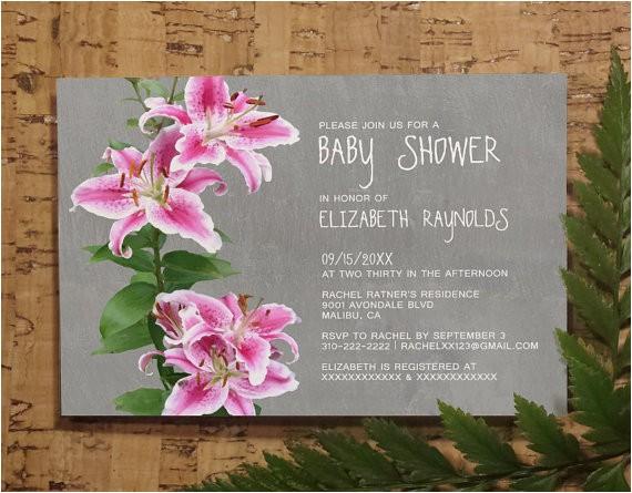stargazer lily baby invitations girl