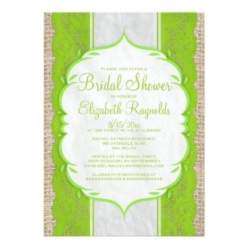 lime green linen burlap lace bridal shower invites
