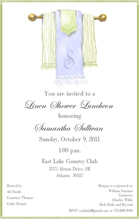 Linen Bridal Shower Invitations Linen Shower