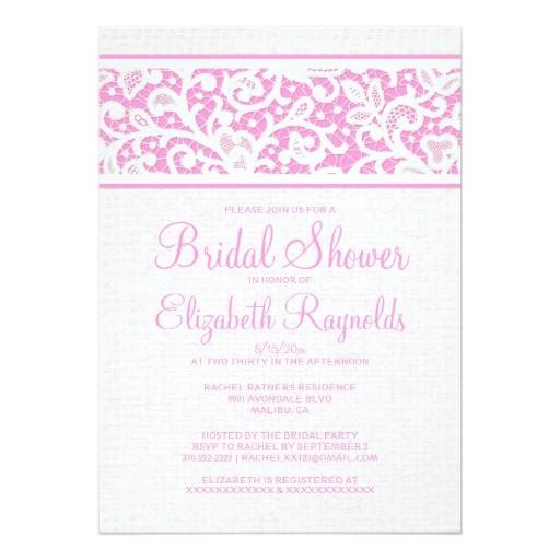 pink rustic burlap linen bridal shower invitations