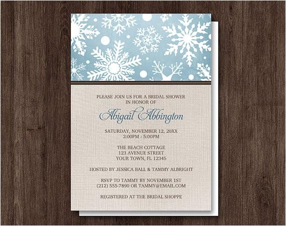 rustic winter linen bridal shower invitations