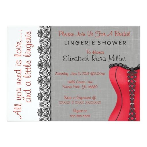black red corset lingerie bridal shower invite