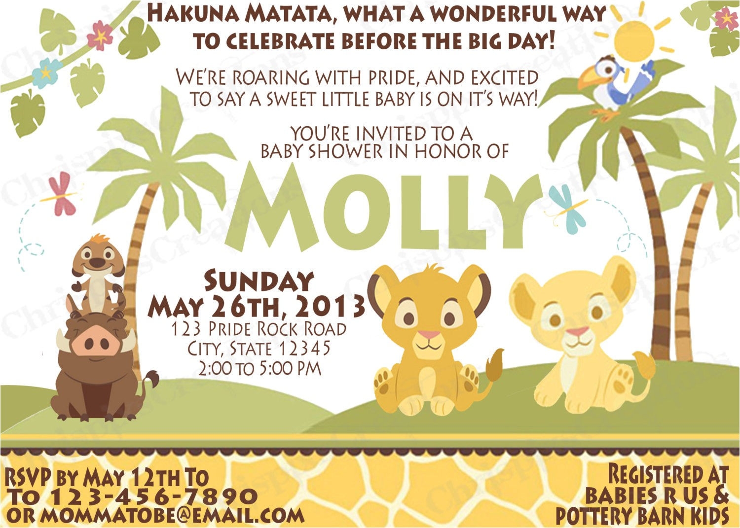baby lion king baby shower invitations