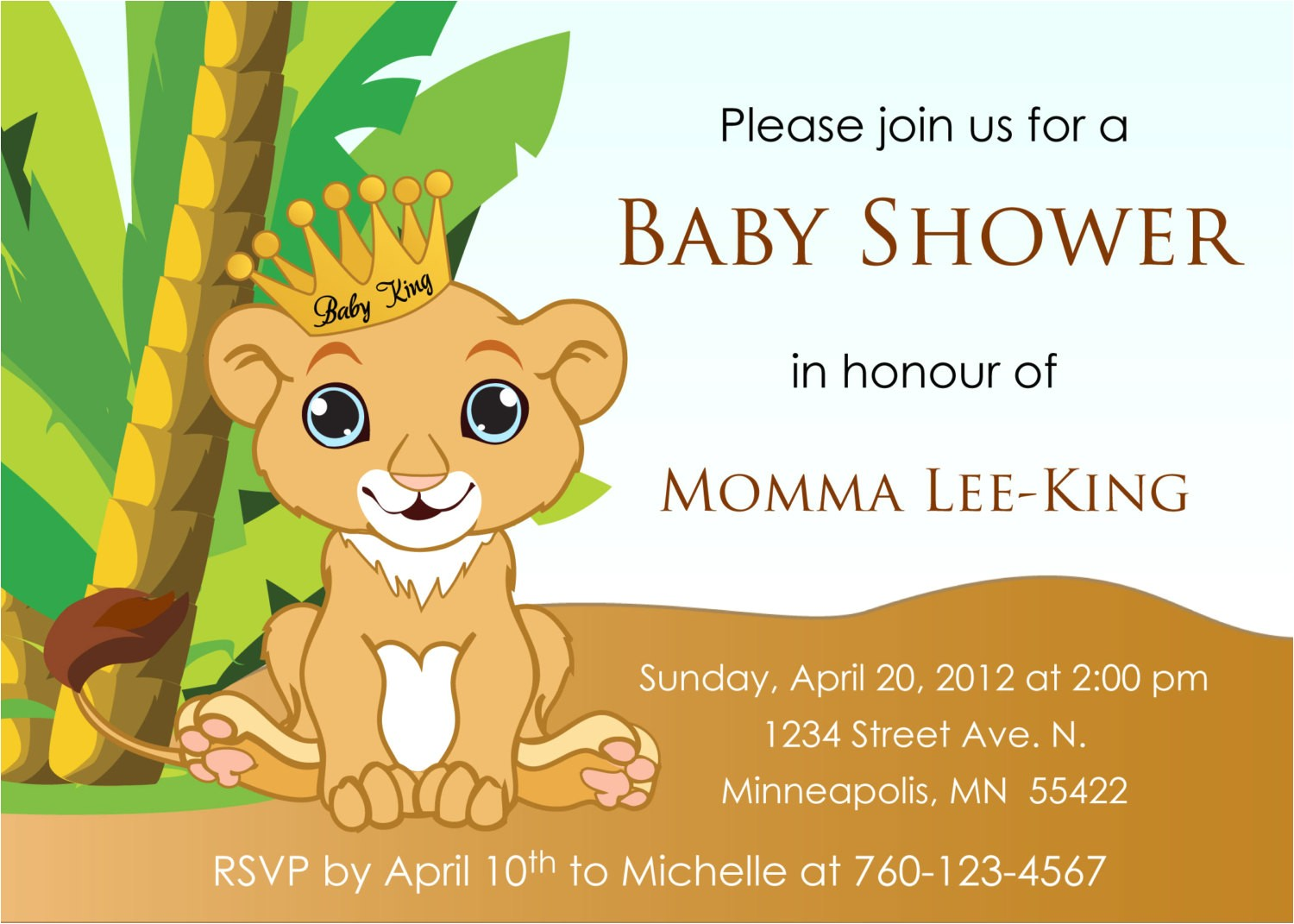 baby lion king baby shower invitation