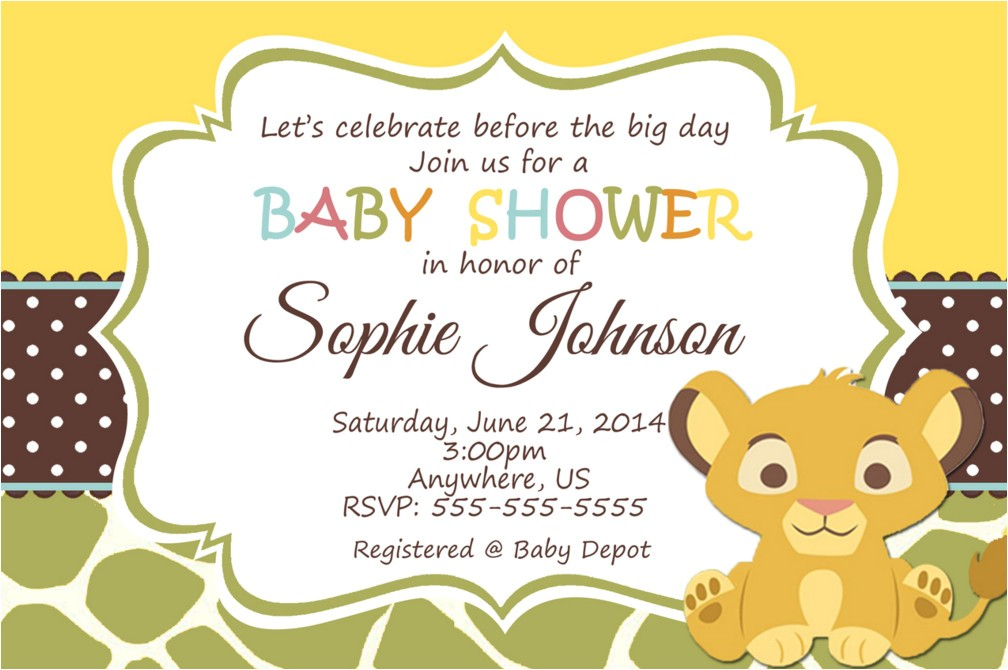 lion king baby shower invitation wording