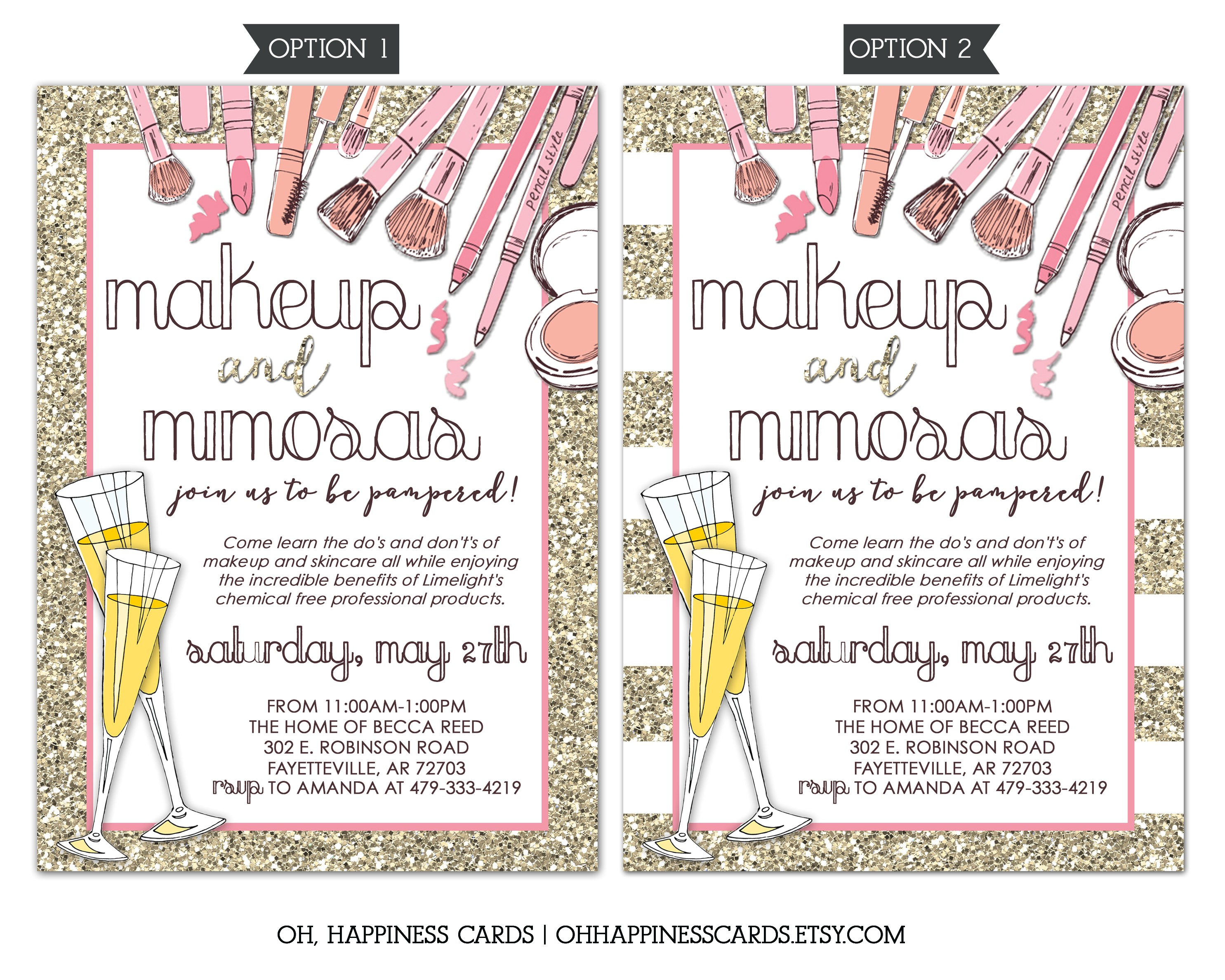 limelight makeup party invitation mary