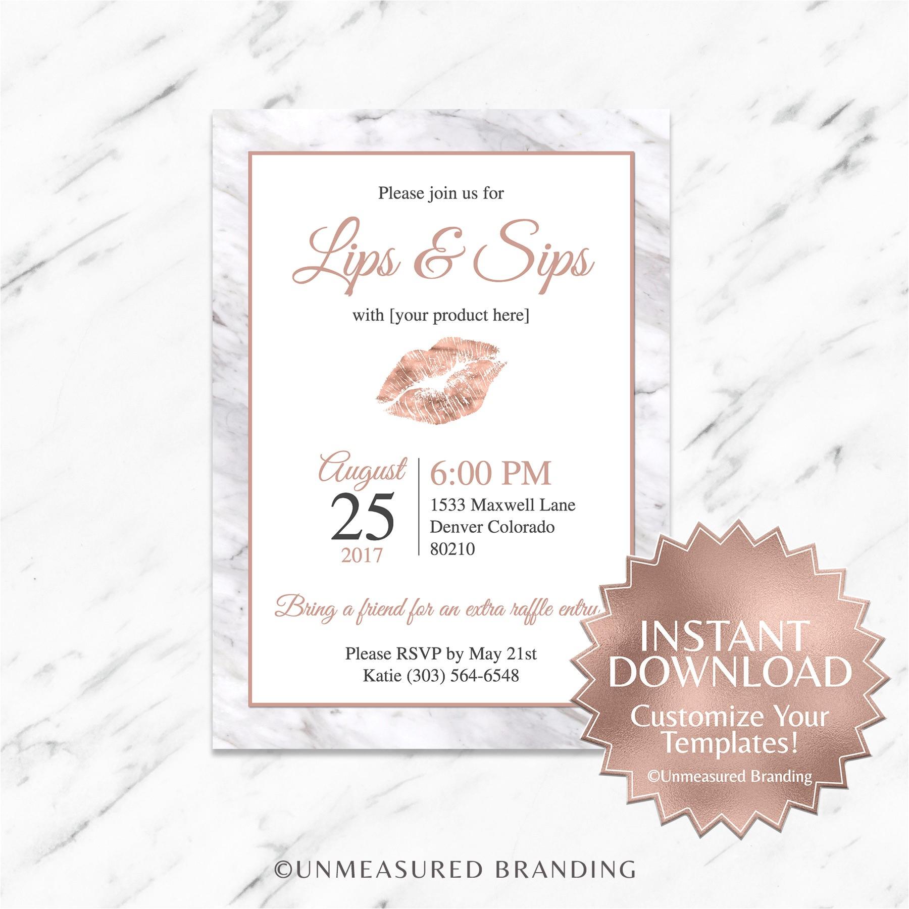 Lipsense Party Invite Wording Rose Gold Marble Lipsense Party Invitation Lips and Sips