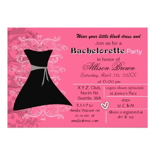 little black dress bachelorette party invite 161796871276025446