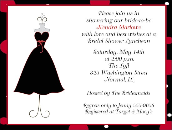 Little Black Dress Bridal Shower Invitations