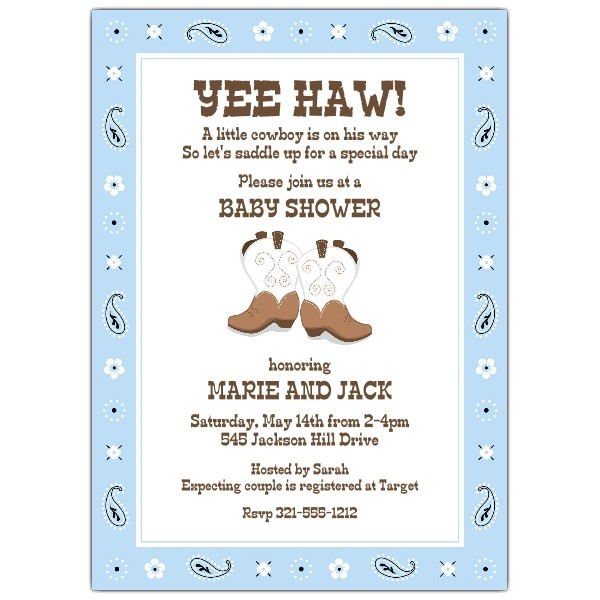 Lil Boy Buckaroo Baby Shower Invitations p 643 57 581