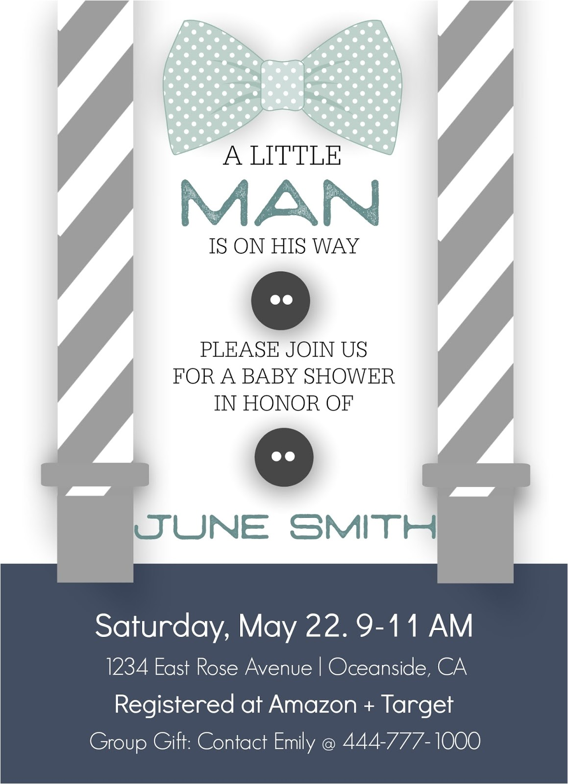 little man baby shower template