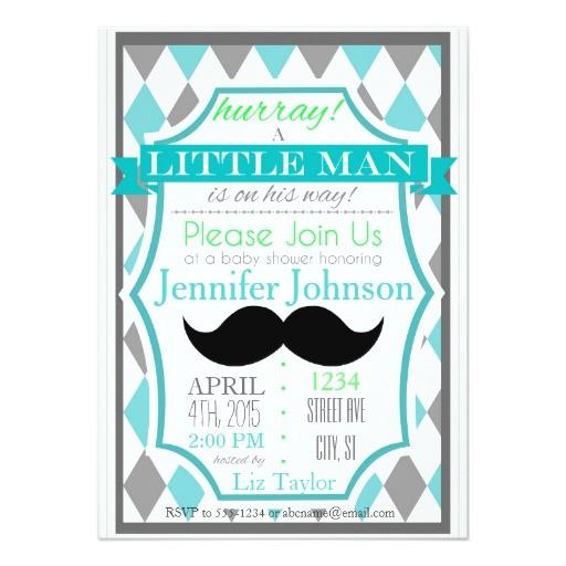 little man mustache baby shower invitations