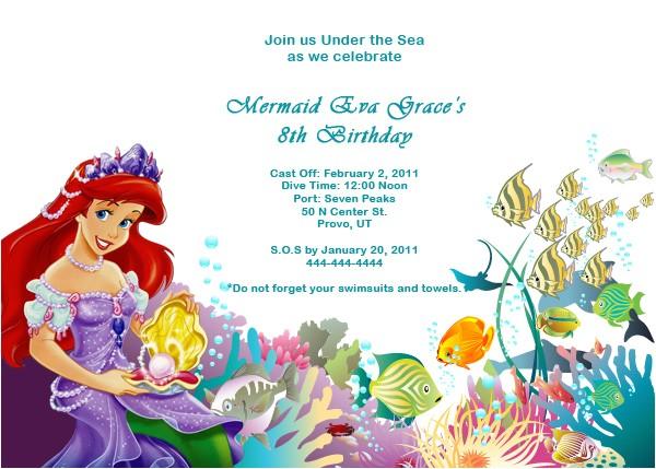 free little mermaid birthday invitation