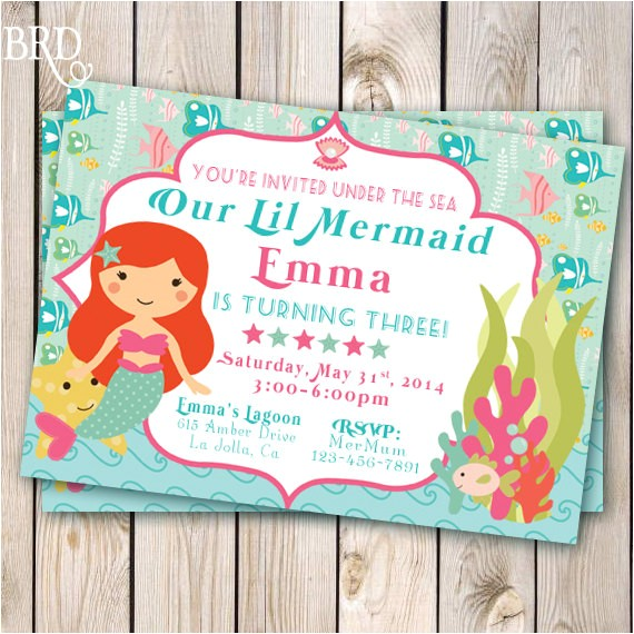 mermaid invitation pool party little