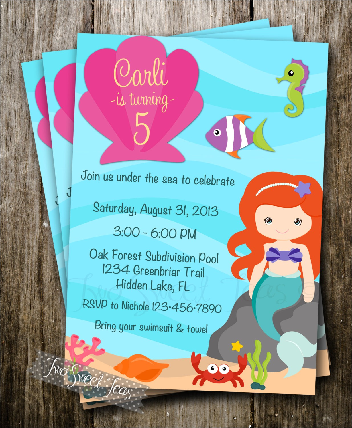 little mermaid inspired invitation pool