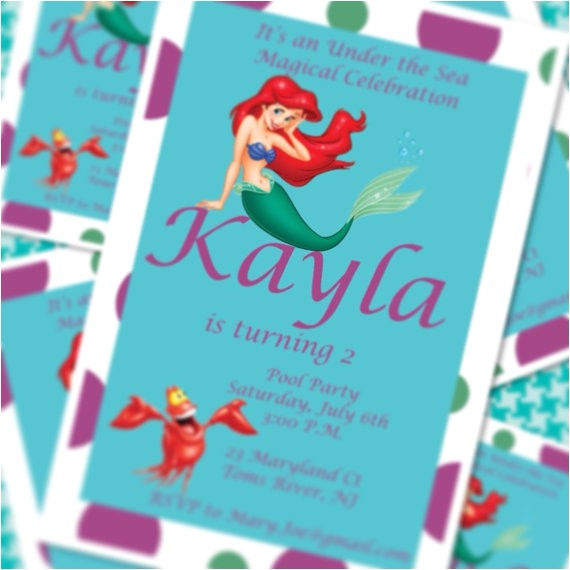 Little Mermaid Pool Party Invitations Little Mermaid Princess Ariel Pool Party by Simplyfabchic