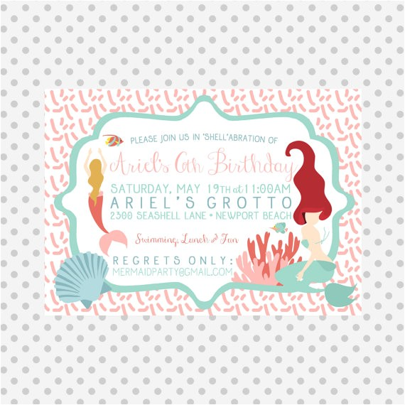 mermaid party invitation pool party
