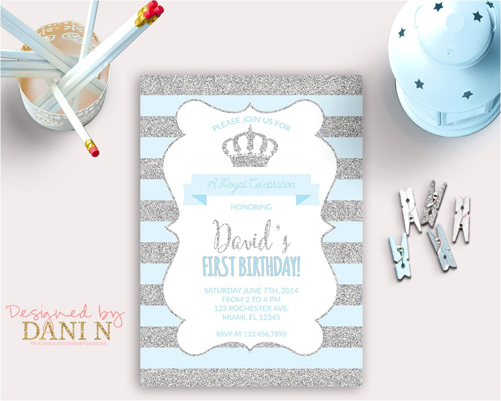 little prince birthday invitation silver