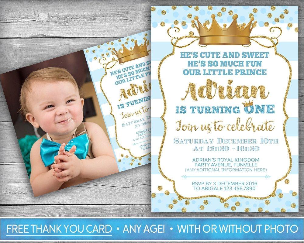 Little Prince First Birthday Invitation Prince Invitation Little Prince First Birthday Boy