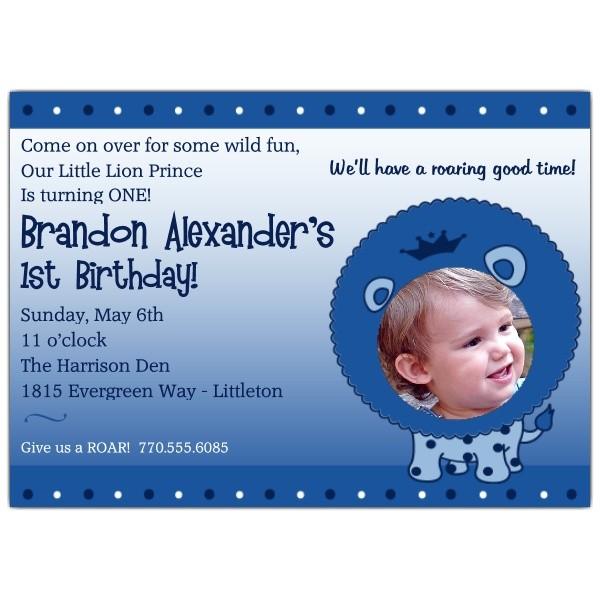 1st Birthday Little Lion Prince Invitations p 606 75 LB01