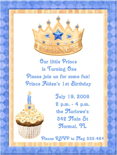 Blue Prince 1st Birthday Party Invitations