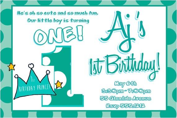 lil prince 1st birthday invitation