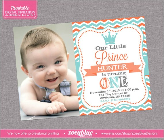 prince birthday invitation boy 1st first 3