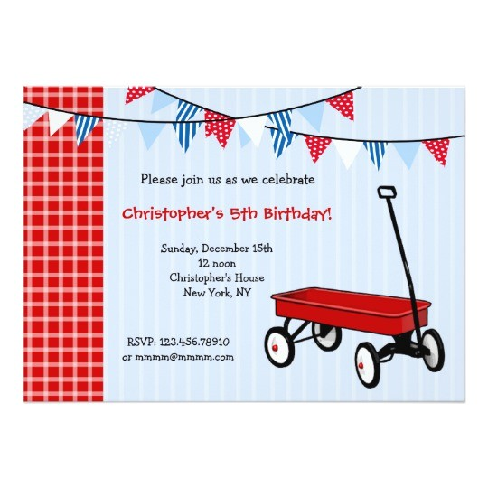 little red wagon birthday party invitations
