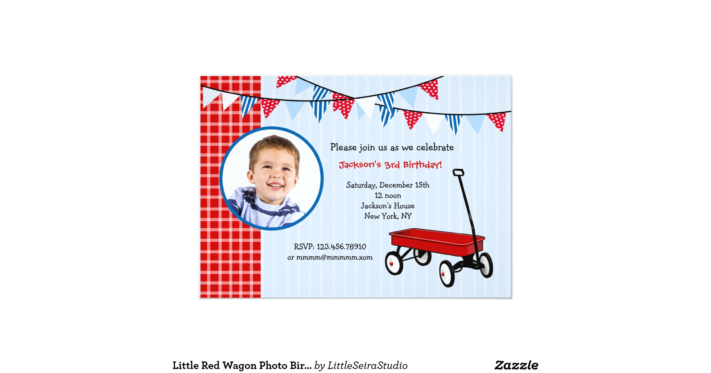 little red wagon photo birthday party invitations