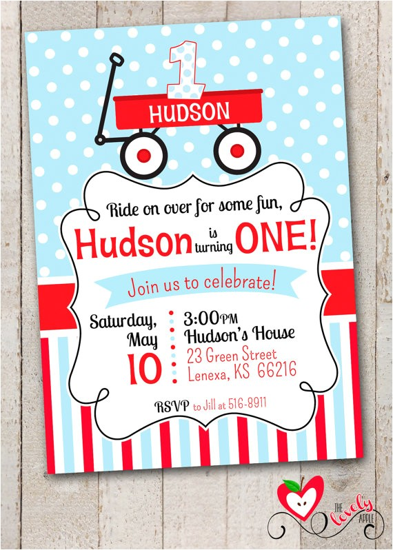 red wagon birthday invitation little red