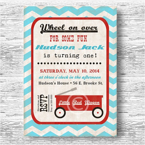 vintage red wagon invitation boys birthday