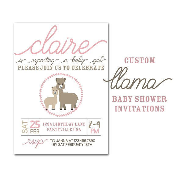 llama baby shower invitation custom