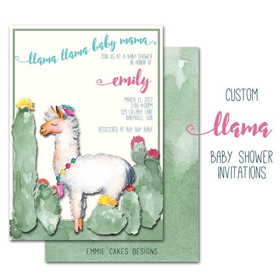 llama baby shower invitation custom party 2