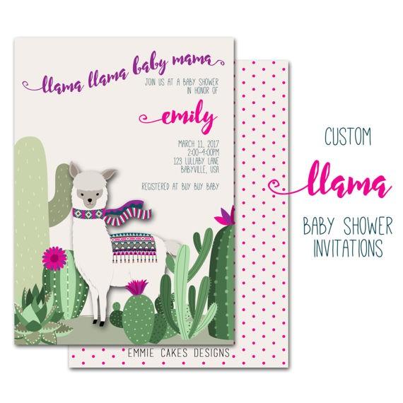llama baby shower invitation custom party 3