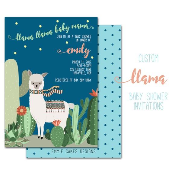 llama baby shower invitation custom party