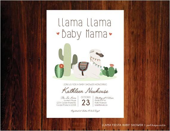 llama baby shower invitation fiesta invitation