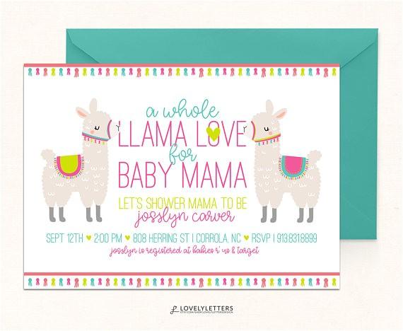 llama baby shower invitation llama