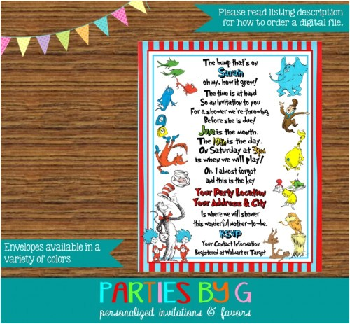 dr seuss cat hat lorax baby shower party invitations personalized