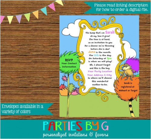 dr seuss lorax baby shower party invitations personalized custom