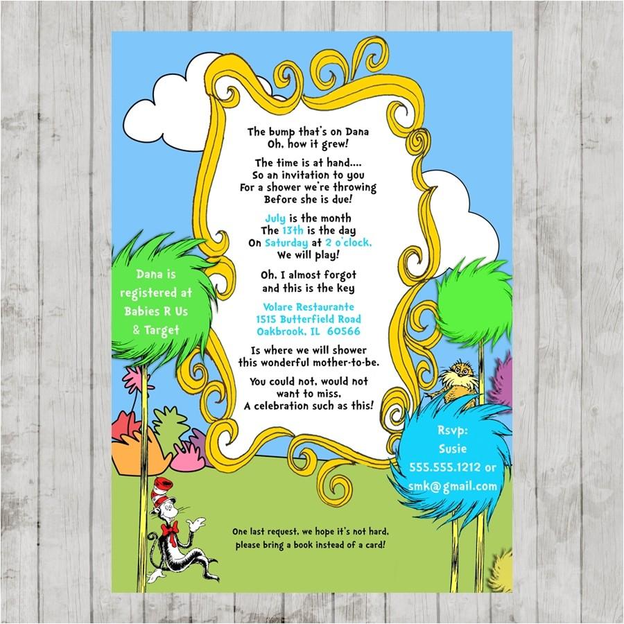 dr seuss lorax baby shower printable invitation design