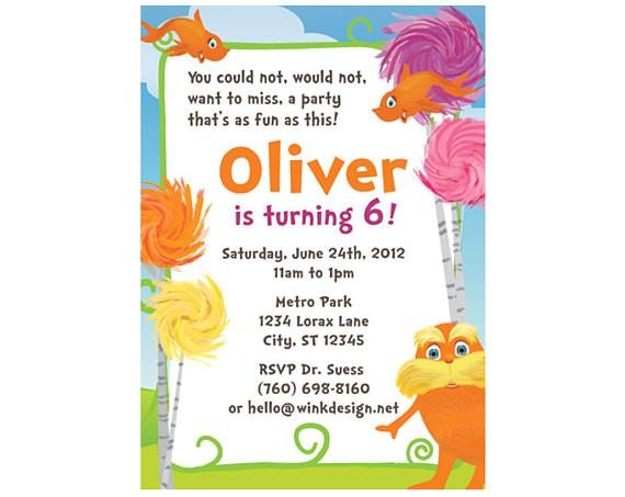 the lorax custom party invitation you