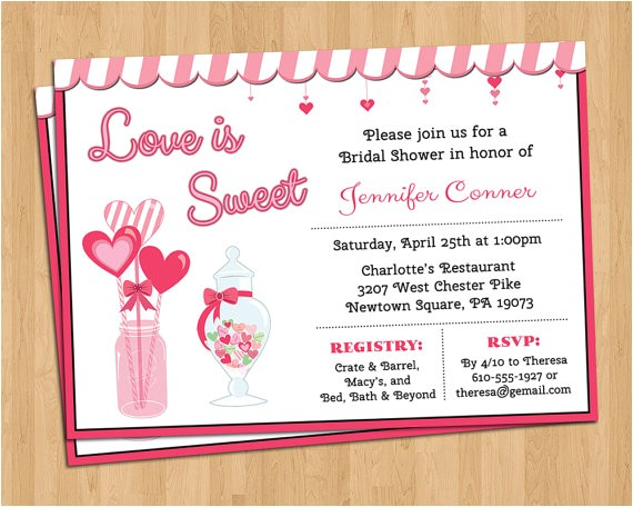 love is sweet invitation bridal or baby