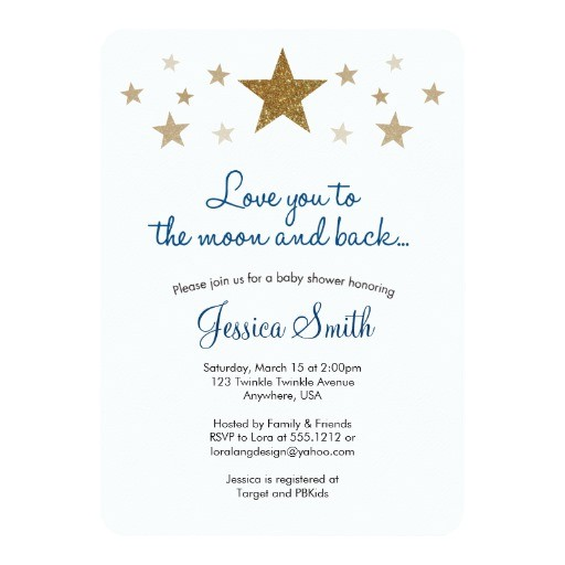 love you to the moon back baby shower invitation