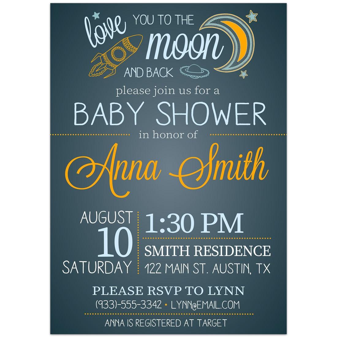moon back baby shower invitations